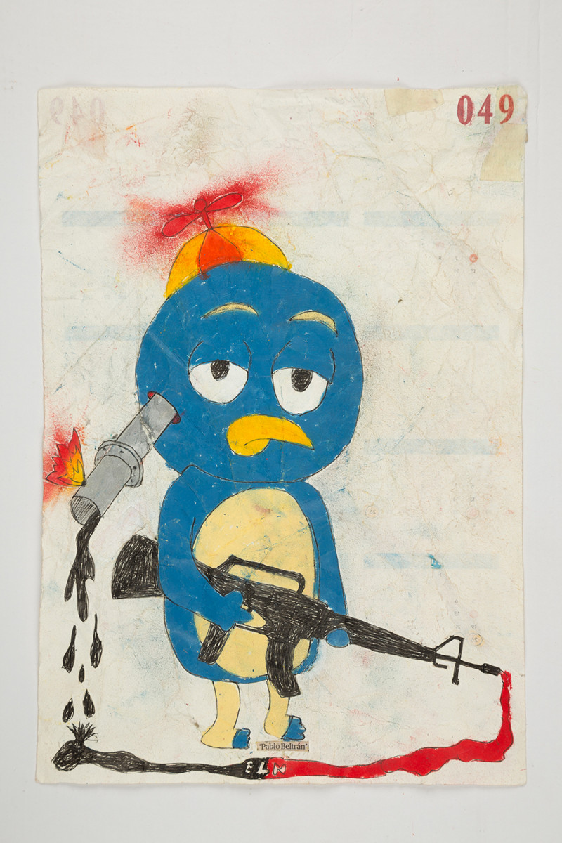 Camilo Restrepo. <em>Pablo Beltràn</em>, 2021. Water-soluble wax pastel, ink, tape and saliva on paper 11 3/4 x 8 1/4 inches (29.8 x 21 cm)