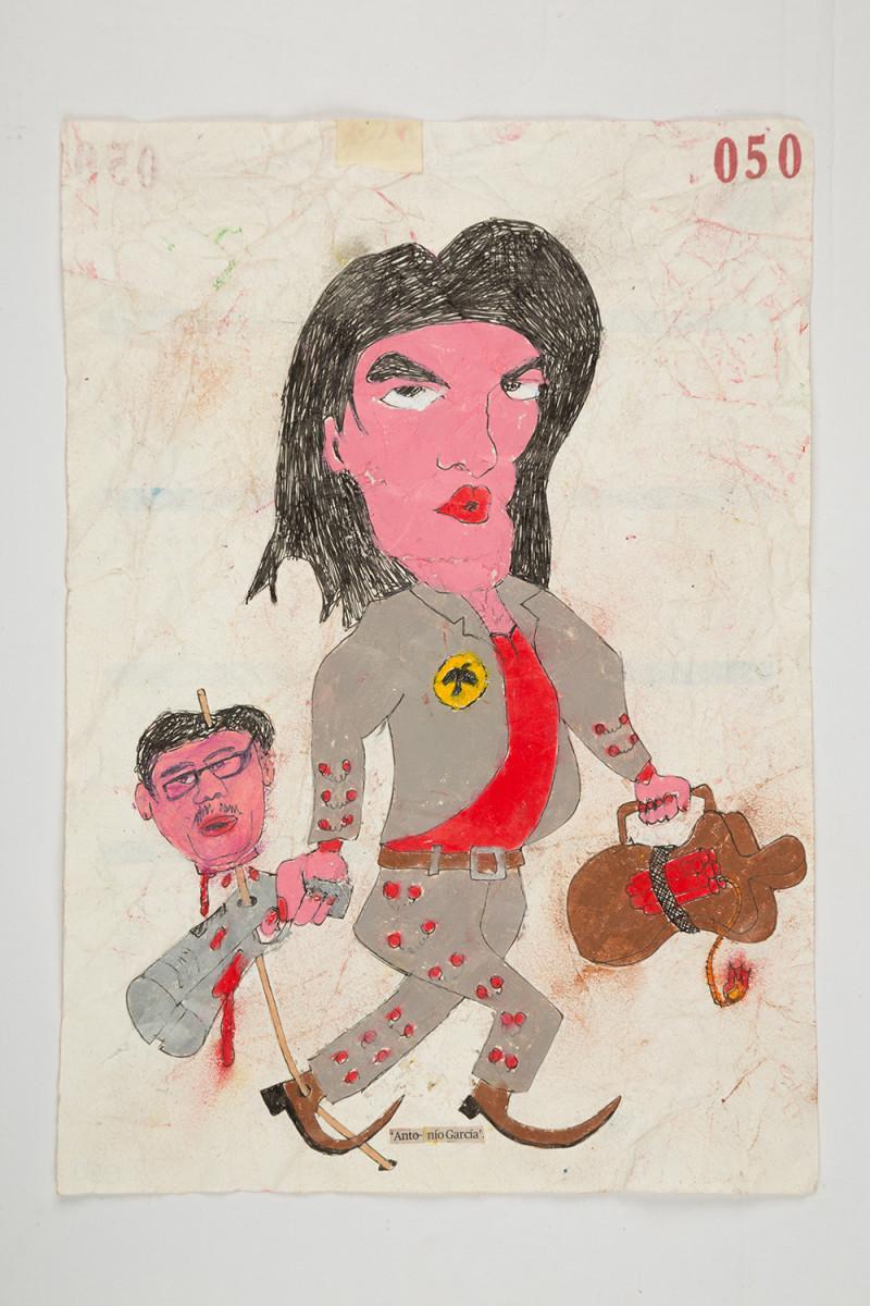 Camilo Restrepo. <em>Antonio Garcìa</em>, 2021. Water-soluble wax pastel, ink, tape and saliva on paper 11 3/4 x 8 1/4 inches (29.8 x 21 cm)