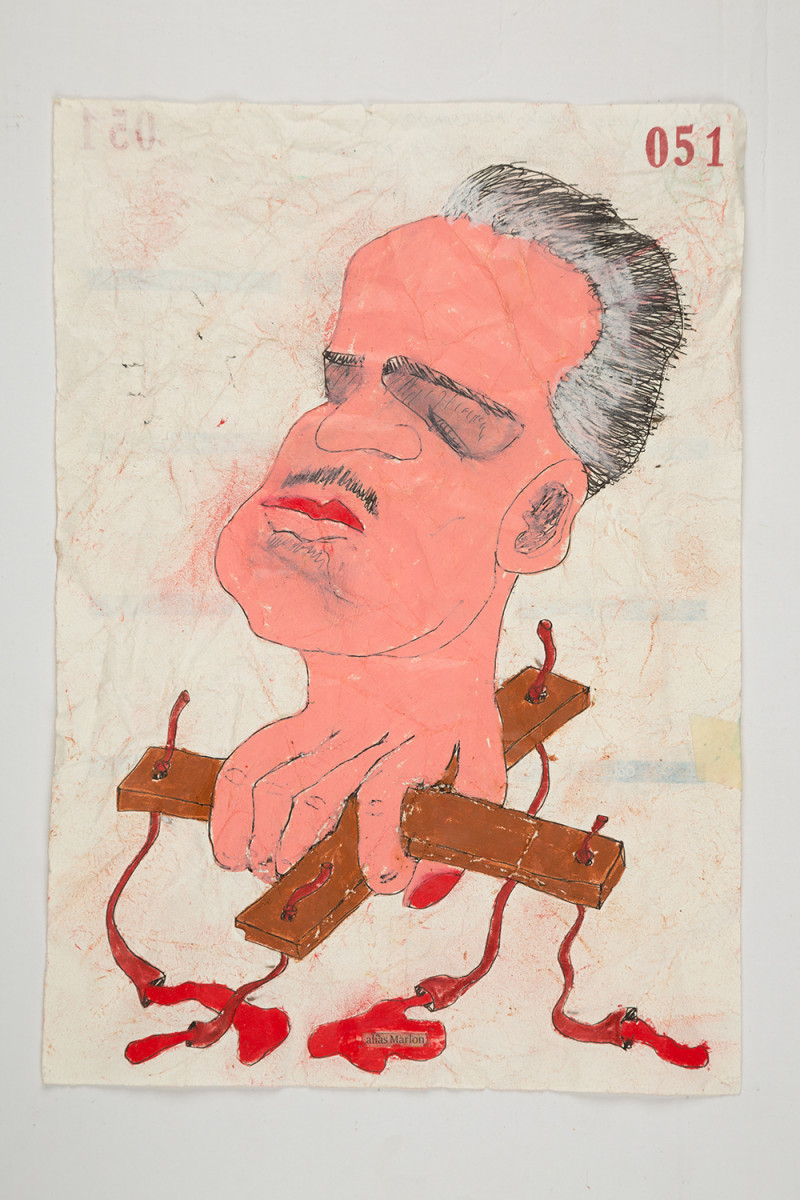 Camilo Restrepo. <em>Marlon</em>, 2021. Water-soluble wax pastel, ink, tape and saliva on paper 11 3/4 x 8 1/4 inches (29.8 x 21 cm)