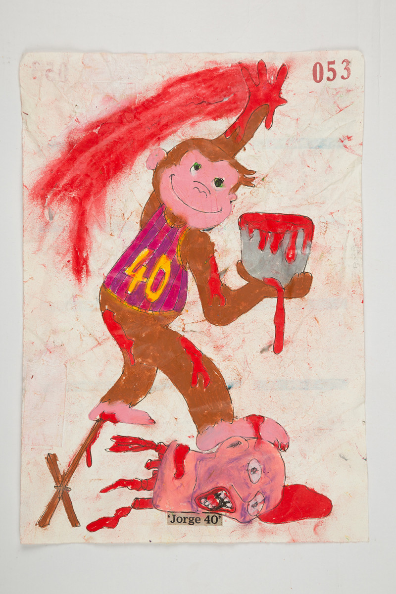 Camilo Restrepo. <em>Jorge</em>, 2021. Water-soluble wax pastel, ink, tape and saliva on paper 11 3/4 x 8 1/4 inches (29.8 x 21 cm)