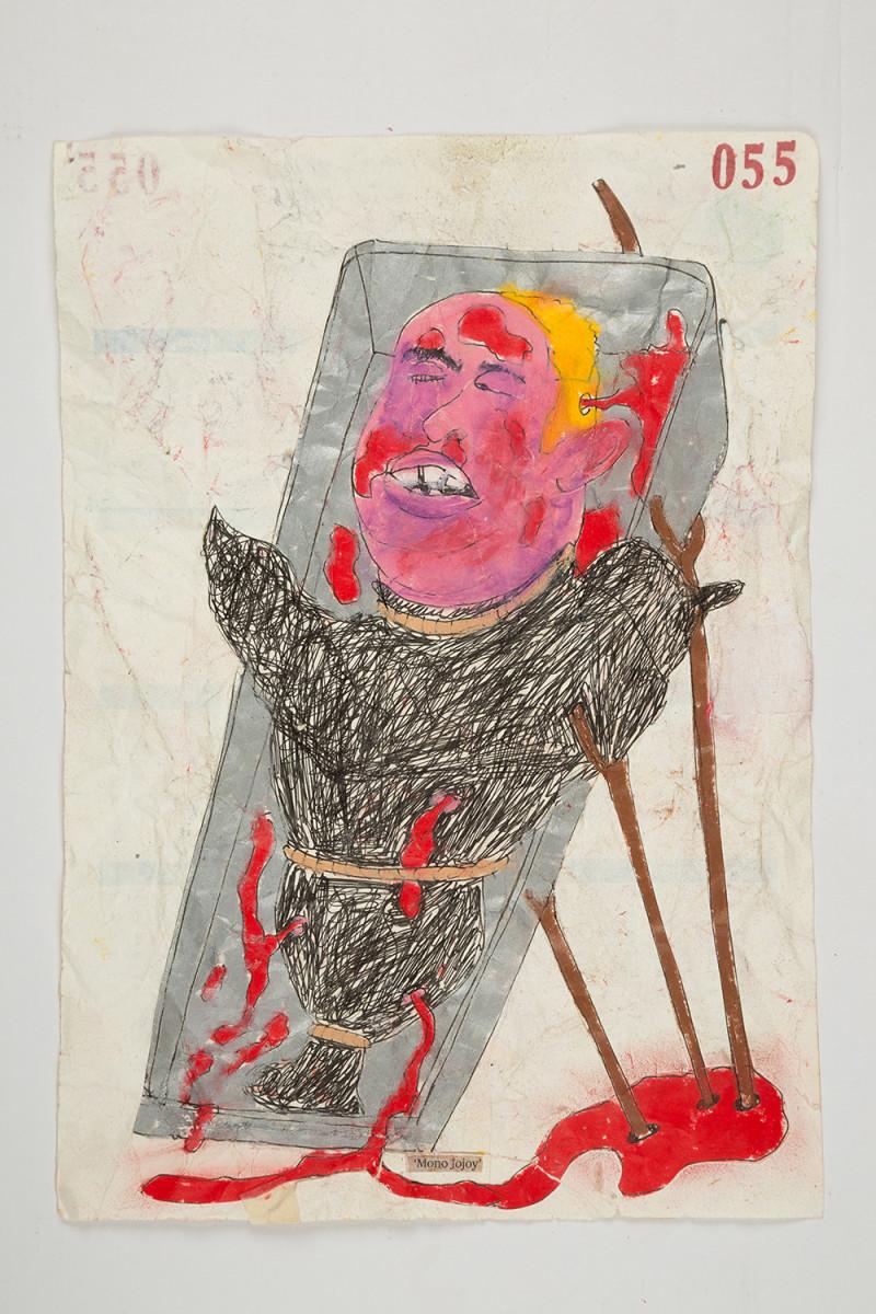 Camilo Restrepo. <em>Mono Jojoy</em>, 2021. Water-soluble wax pastel, ink, tape and saliva on paper 11 3/4 x 8 1/4 inches (29.8 x 21 cm)