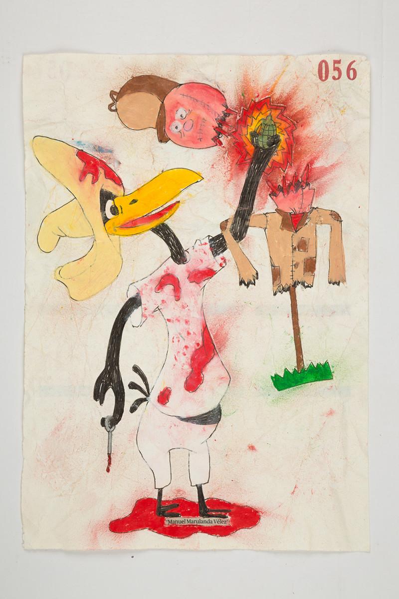 Camilo Restrepo. <em>Manuel Marulanda</em>, 2021. Water-soluble wax pastel, ink, tape and saliva on paper 11 3/4 x 8 1/4 inches (29.8 x 21 cm)