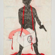 Camilo Restrepo. <em>Ivàn Rios</em>, 2021. Water-soluble wax pastel, ink, tape and saliva on paper 11 3/4 x 8 1/4 inches (29.8 x 21 cm) thumbnail