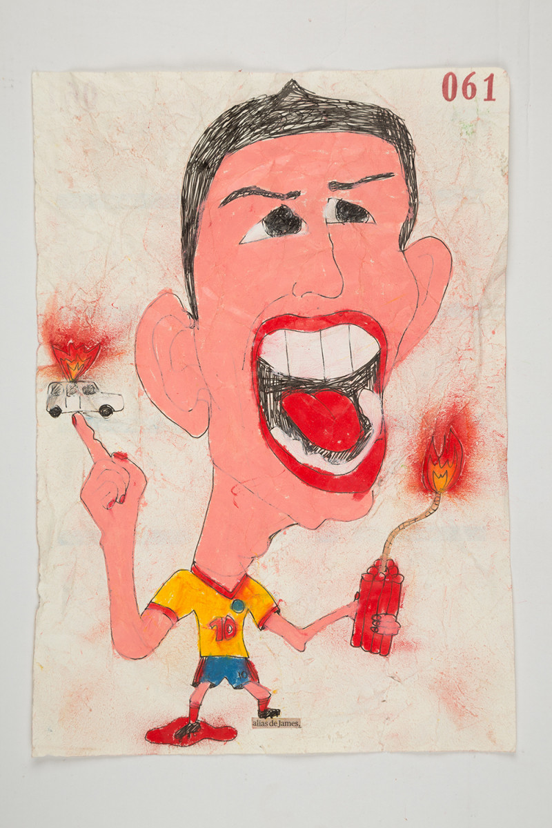 Camilo Restrepo. <em>James</em>, 2021. Water-soluble wax pastel, ink, tape and saliva on paper 11 3/4 x 8 1/4 inches (29.8 x 21 cm)