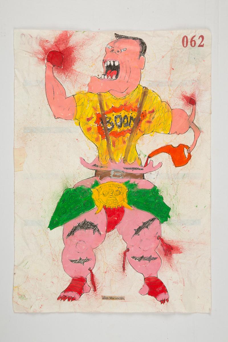 Camilo Restrepo. <em>Mancancàn</em>, 2021. Water-soluble wax pastel, ink, tape and saliva on paper 11 3/4 x 8 1/4 inches (29.8 x 21 cm)
