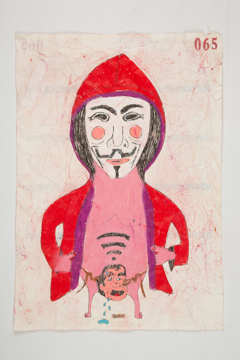 Camilo Restrepo. <em>Hacker</em>, 2021. Water-soluble wax pastel, ink, tape and saliva on paper 11 3/4 x 8 1/4 inches (29.8 x 21 cm)