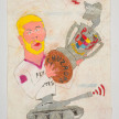 Camilo Restrepo. <em>Ramos</em>, 2021. Water-soluble wax pastel, ink, tape and saliva on paper 11 3/4 x 8 1/4 inches (29.8 x 21 cm) thumbnail