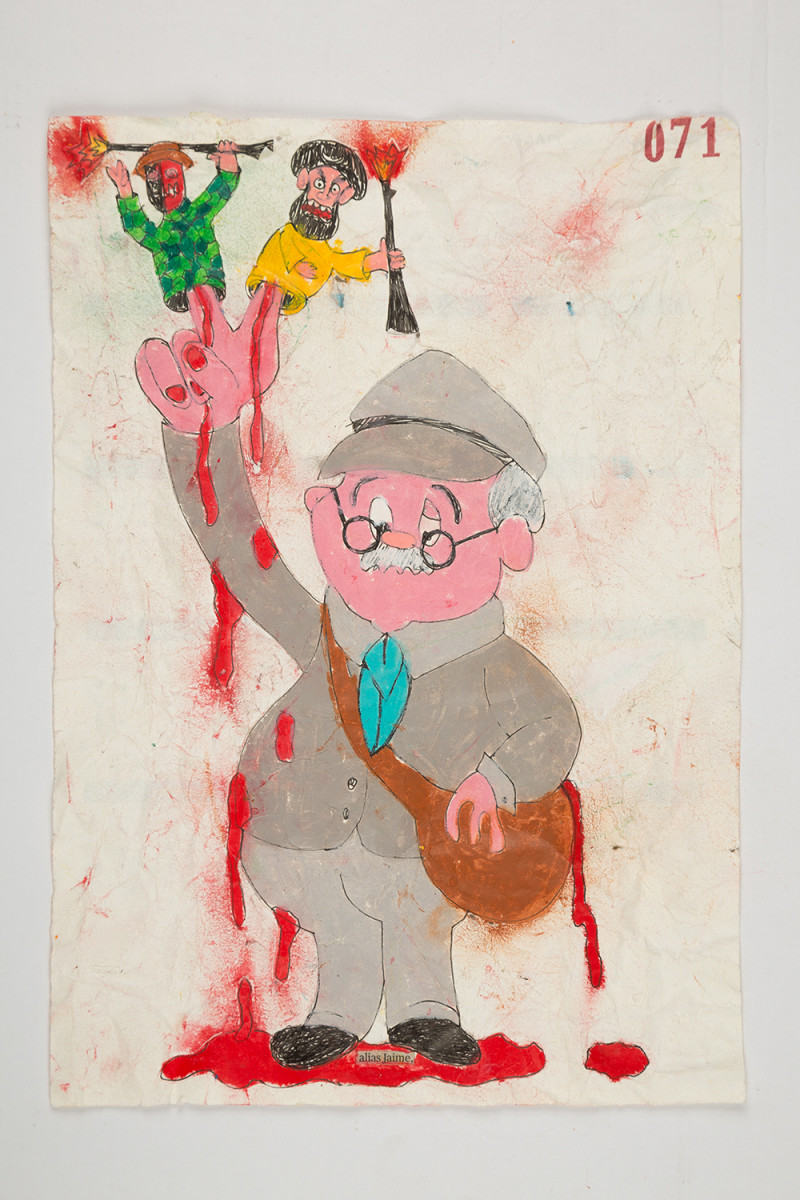 Camilo Restrepo. <em>Jaime</em>, 2021. Water-soluble wax pastel, ink, tape and saliva on paper 11 3/4 x 8 1/4 inches (29.8 x 21 cm)