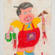 Camilo Restrepo. <em>Ñoño</em>, 2021. Water-soluble wax pastel, ink, tape and saliva on paper 11 3/4 x 8 1/4 inches (29.8 x 21 cm) thumbnail