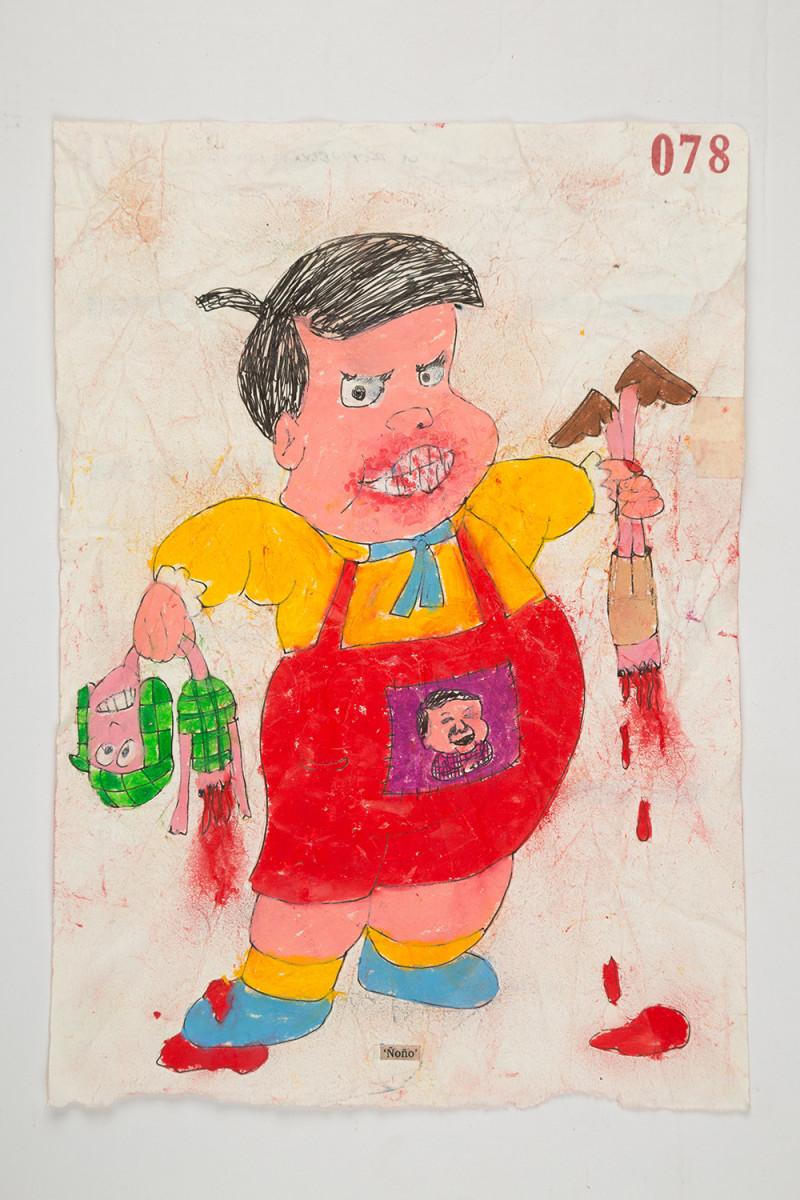 Camilo Restrepo. <em>Ñoño</em>, 2021. Water-soluble wax pastel, ink, tape and saliva on paper 11 3/4 x 8 1/4 inches (29.8 x 21 cm)