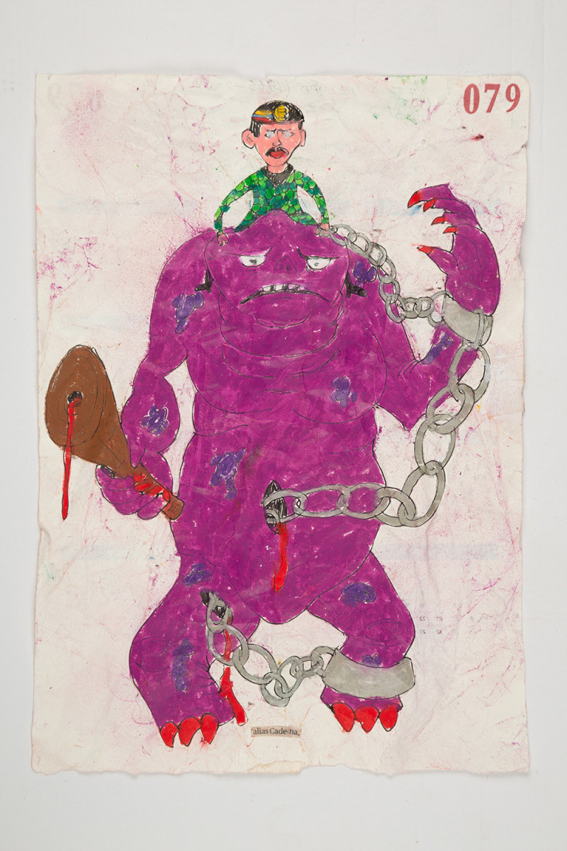 Camilo Restrepo. <em>Cadena</em>, 2021. Water-soluble wax pastel, ink, tape and saliva on paper 11 3/4 x 8 1/4 inches (29.8 x 21 cm)