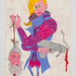 Camilo Restrepo. <em>Martìn Sombra</em>, 2021. Water-soluble wax pastel, ink, tape and saliva on paper 11 3/4 x 8 1/4 inches (29.8 x 21 cm) thumbnail