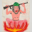 Camilo Restrepo. <em>Kafir</em>, 2021. Water-soluble wax pastel, ink, tape and saliva on paper 11 3/4 x 8 1/4 inches (29.8 x 21 cm) thumbnail