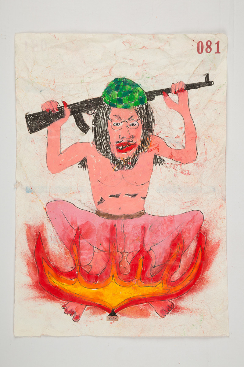 Camilo Restrepo. <em>Kafir</em>, 2021. Water-soluble wax pastel, ink, tape and saliva on paper 11 3/4 x 8 1/4 inches (29.8 x 21 cm)