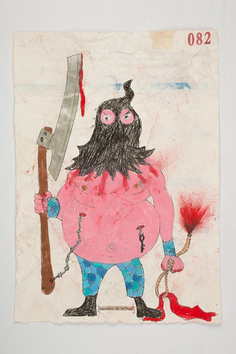 Camilo Restrepo. <em>Carcelero de las Farc</em>, 2021. Water-soluble wax pastel, ink, tape and saliva on paper 11 3/4 x 8 1/4 inches (29.8 x 21 cm)