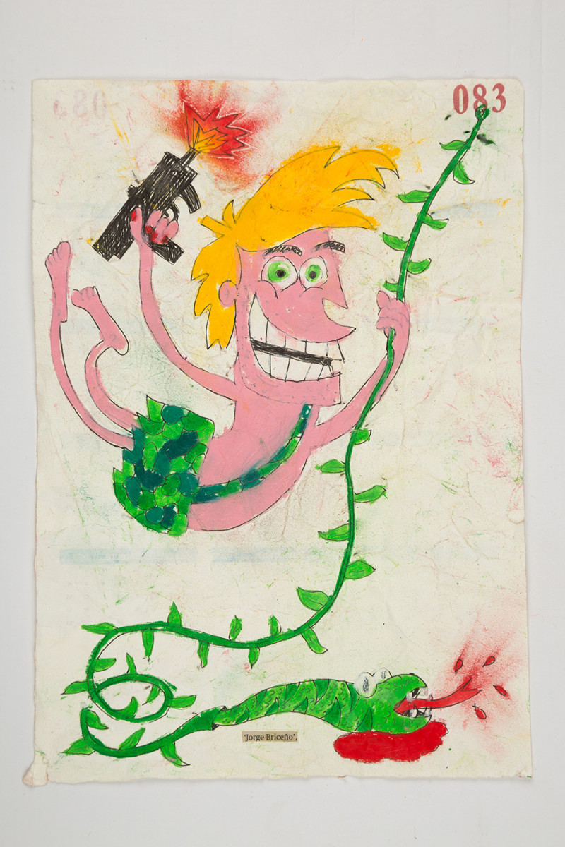 Camilo Restrepo. <em>Jorge Briceño</em>, 2021. Water-soluble wax pastel, ink, tape and saliva on paper 11 3/4 x 8 1/4 inches (29.8 x 21 cm)