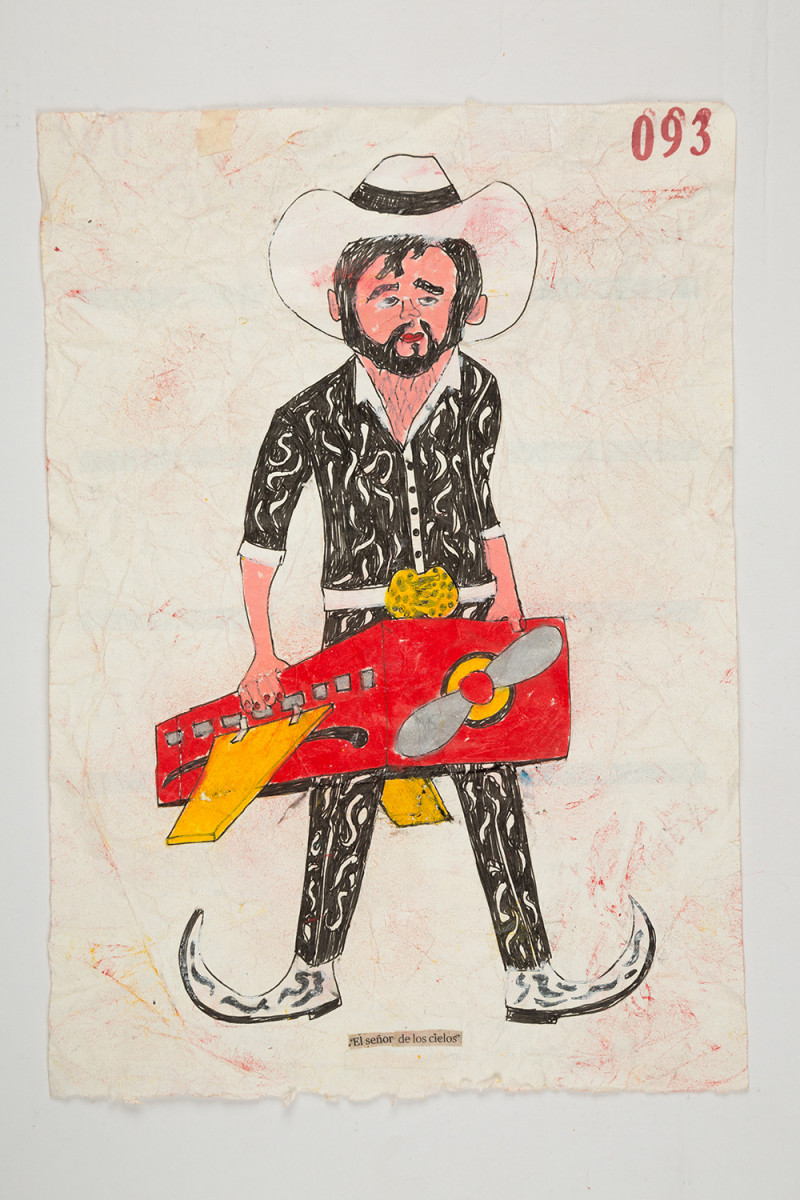 Camilo Restrepo. <em>Señor de los Cielos</em>, 2021. Water-soluble wax pastel, ink, tape and saliva on paper 11 3/4 x 8 1/4 inches (29.8 x 21 cm)