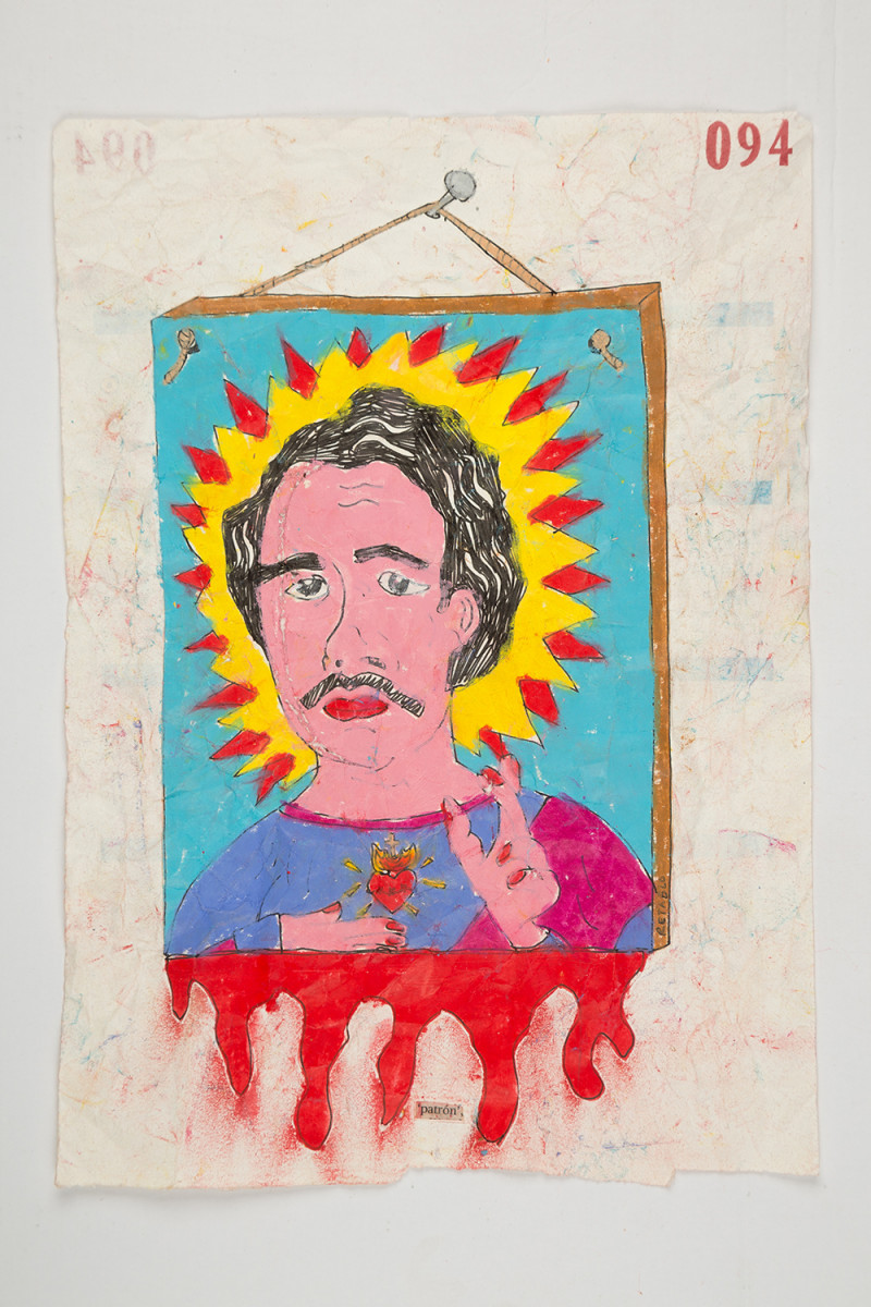 Camilo Restrepo. <em>Patròn</em>, 2021. Water-soluble wax pastel, ink, tape and saliva on paper 11 3/4 x 8 1/4 inches (29.8 x 21 cm)