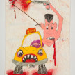 Camilo Restrepo. <em>Taxista</em>, 2021. Water-soluble wax pastel, ink, tape and saliva on paper 11 3/4 x 8 1/4 inches (29.8 x 21 cm) thumbnail