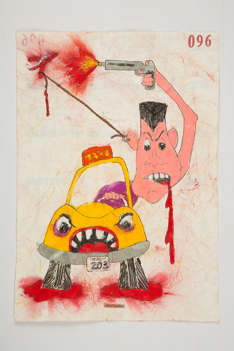 Camilo Restrepo. <em>Taxista</em>, 2021. Water-soluble wax pastel, ink, tape and saliva on paper 11 3/4 x 8 1/4 inches (29.8 x 21 cm)