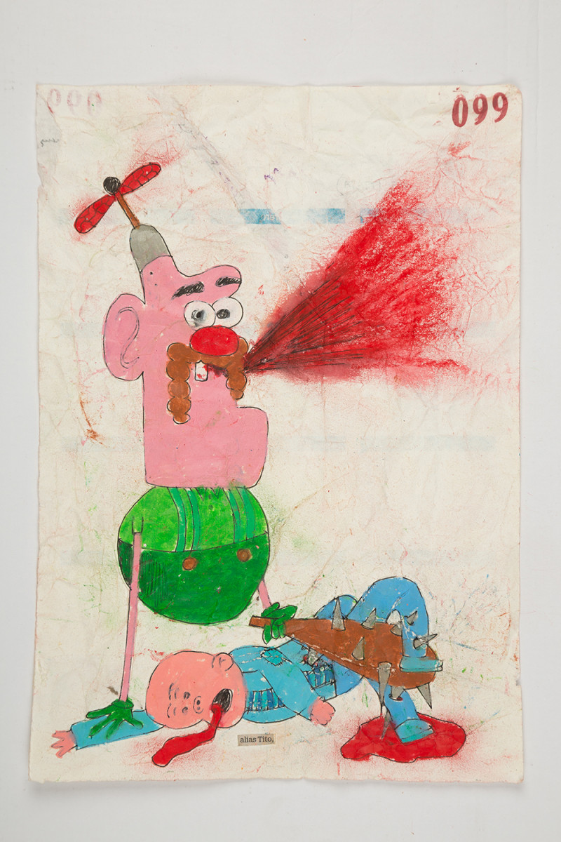 Camilo Restrepo. <em>Tito</em>, 2021. Water-soluble wax pastel, ink, tape and saliva on paper 11 3/4 x 8 1/4 inches (29.8 x 21 cm)