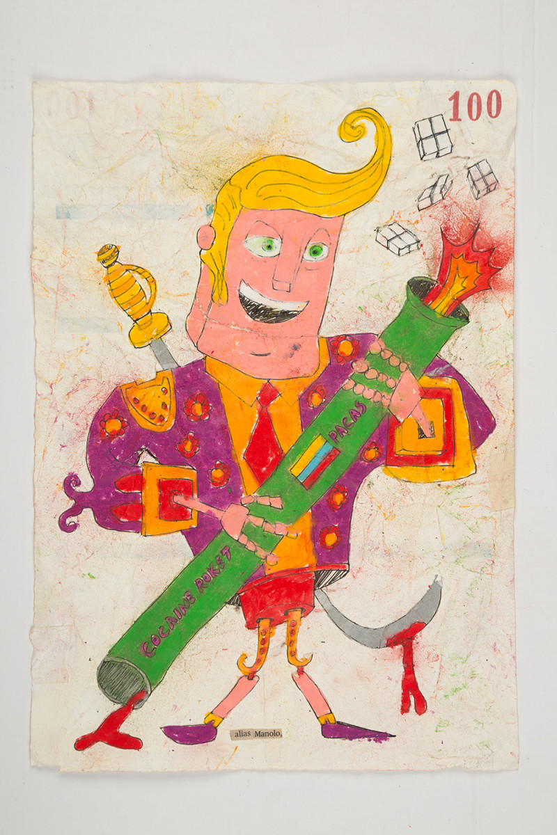 Camilo Restrepo. <em>Manolo</em>, 2021. Water-soluble wax pastel, ink, tape and saliva on paper 11 3/4 x 8 1/4 inches (29.8 x 21 cm)