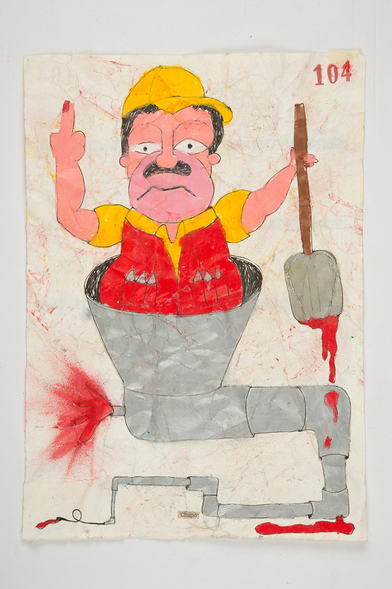 Camilo Restrepo. <em>Chapo</em>, 2021. Water-soluble wax pastel, ink, tape and saliva on paper 11 3/4 x 8 1/4 inches (29.8 x 21 cm)