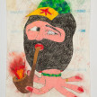 Camilo Restrepo. <em>Marcos</em>, 2021. Water-soluble wax pastel, ink, tape and saliva on paper 11 3/4 x 8 1/4 inches (29.8 x 21 cm) thumbnail