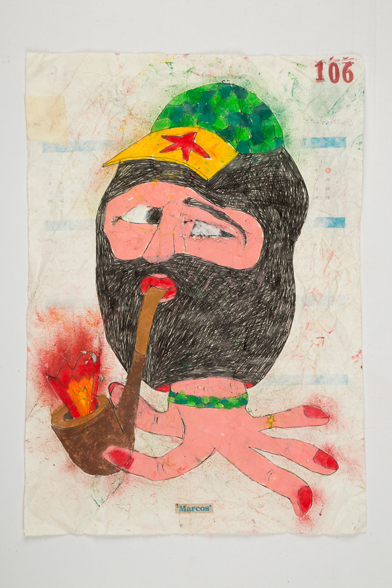 Camilo Restrepo. <em>Marcos</em>, 2021. Water-soluble wax pastel, ink, tape and saliva on paper 11 3/4 x 8 1/4 inches (29.8 x 21 cm)
