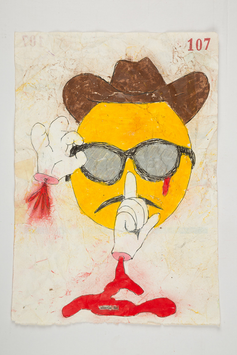 Camilo Restrepo. <em>Gafas</em>, 2021. Water-soluble wax pastel, ink, tape and saliva on paper 11 3/4 x 8 1/4 inches (29.8 x 21 cm)