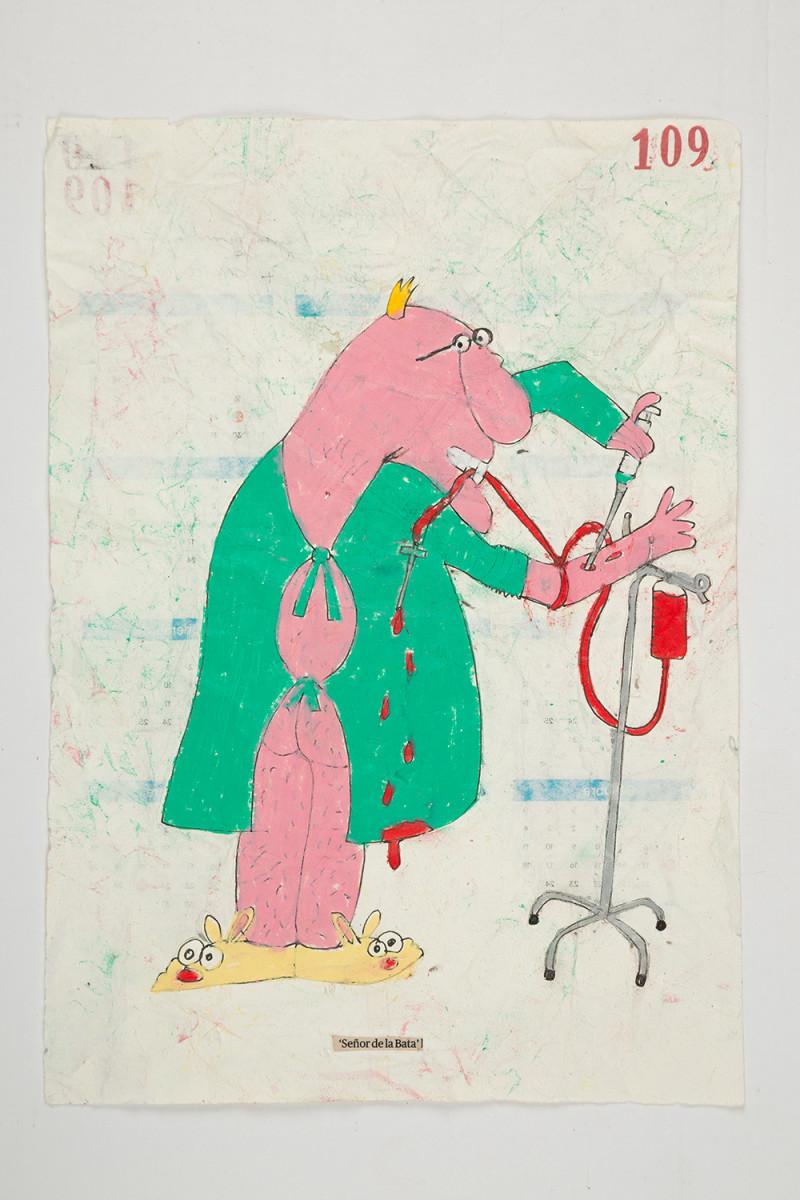Camilo Restrepo. <em>Señor de la Bata</em>, 2021. Water-soluble wax pastel, ink, tape and saliva on paper 11 3/4 x 8 1/4 inches (29.8 x 21 cm)
