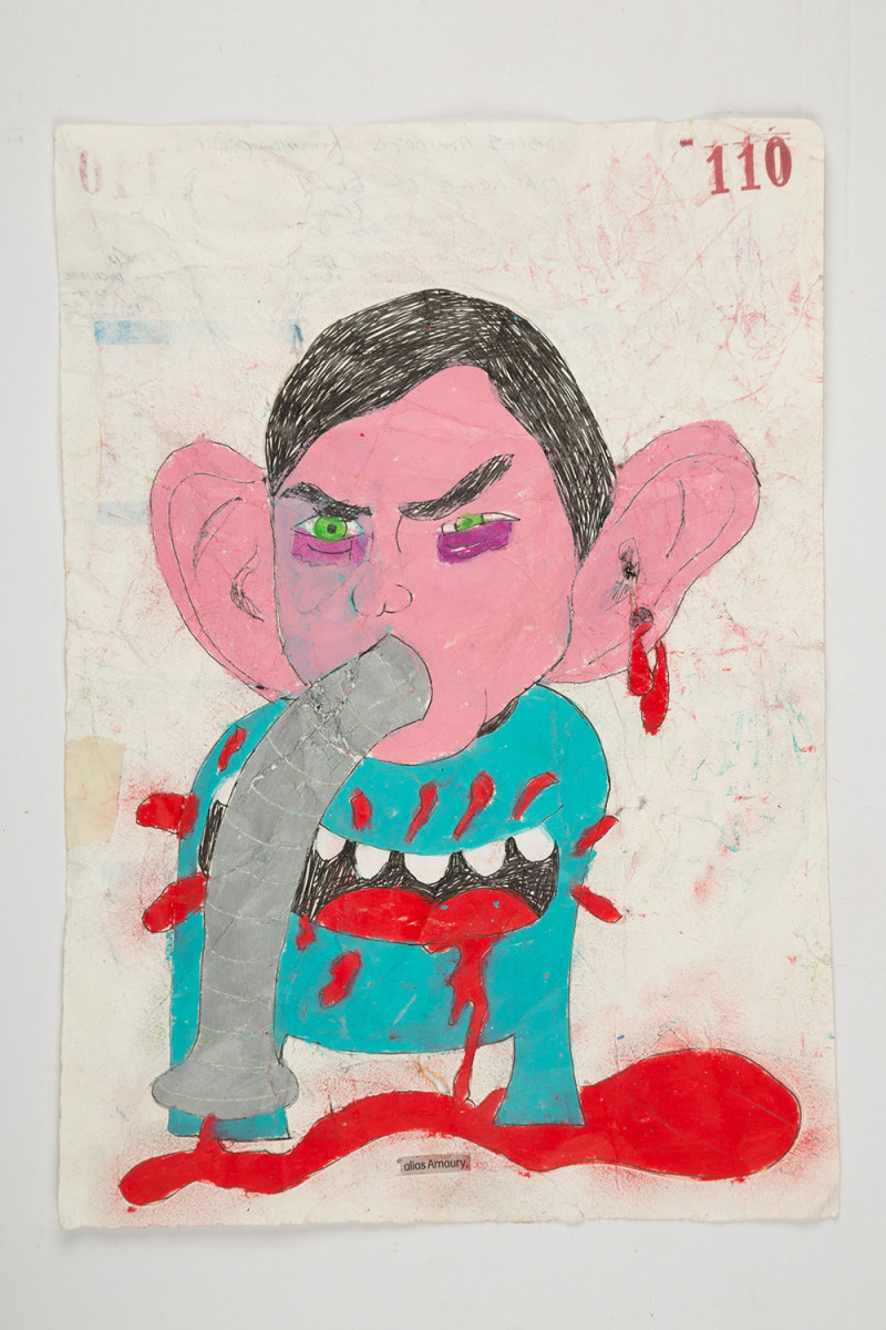 Camilo Restrepo. <em>Amaury</em>, 2021. Water-soluble wax pastel, ink, tape and saliva on paper 11 3/4 x 8 1/4 inches (29.8 x 21 cm)