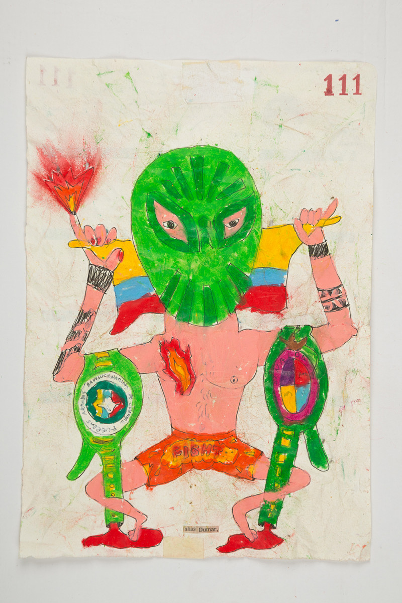 Camilo Restrepo. <em>Dumar</em>, 2021. Water-soluble wax pastel, ink, tape and saliva on paper 11 3/4 x 8 1/4 inches (29.8 x 21 cm)
