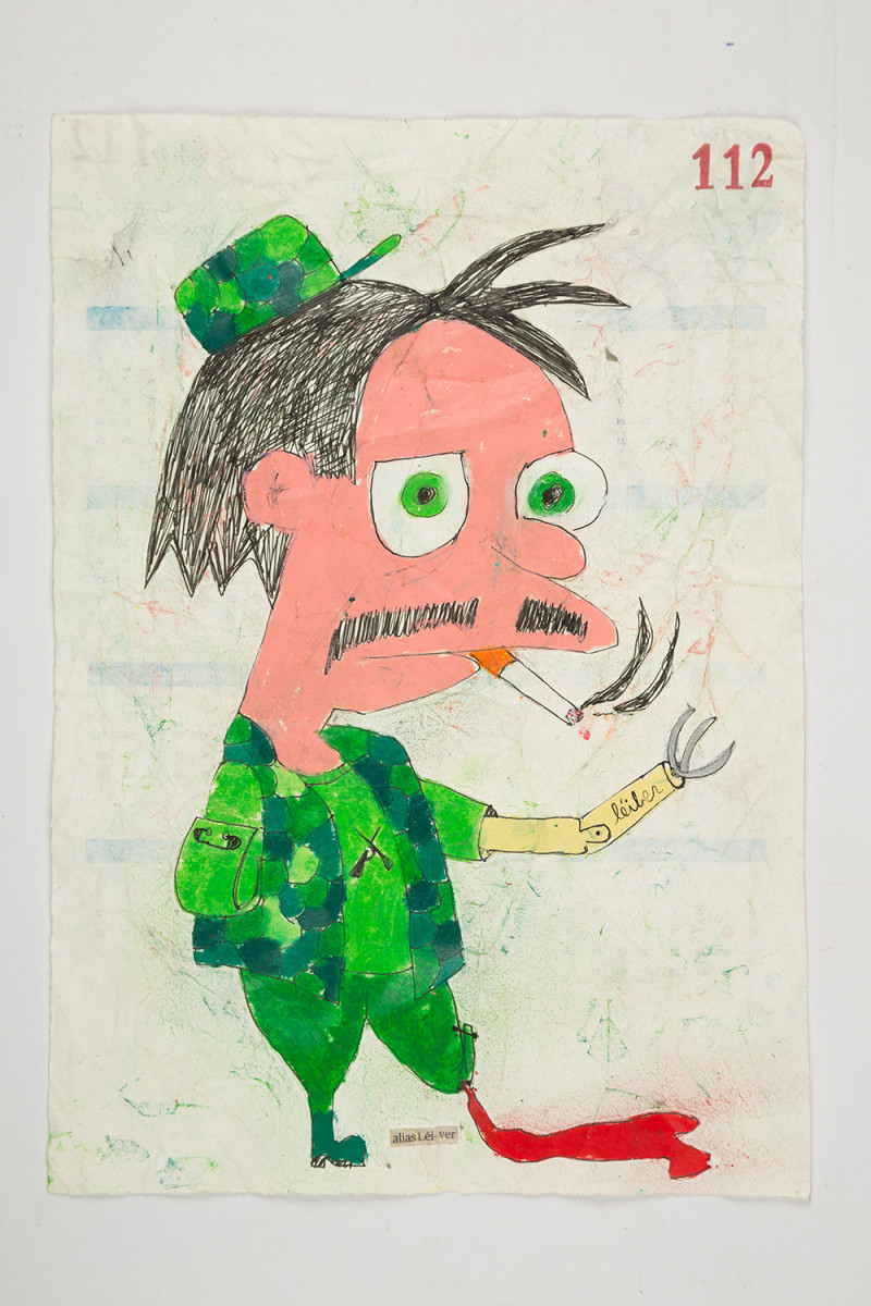 Camilo Restrepo. <em>Lèiver</em>, 2021. Water-soluble wax pastel, ink, tape and saliva on paper 11 3/4 x 8 1/4 inches (29.8 x 21 cm)