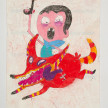 Camilo Restrepo. <em>Victor</em>, 2021. Water-soluble wax pastel, ink, tape and saliva on paper 11 3/4 x 8 1/4 inches (29.8 x 21 cm) thumbnail