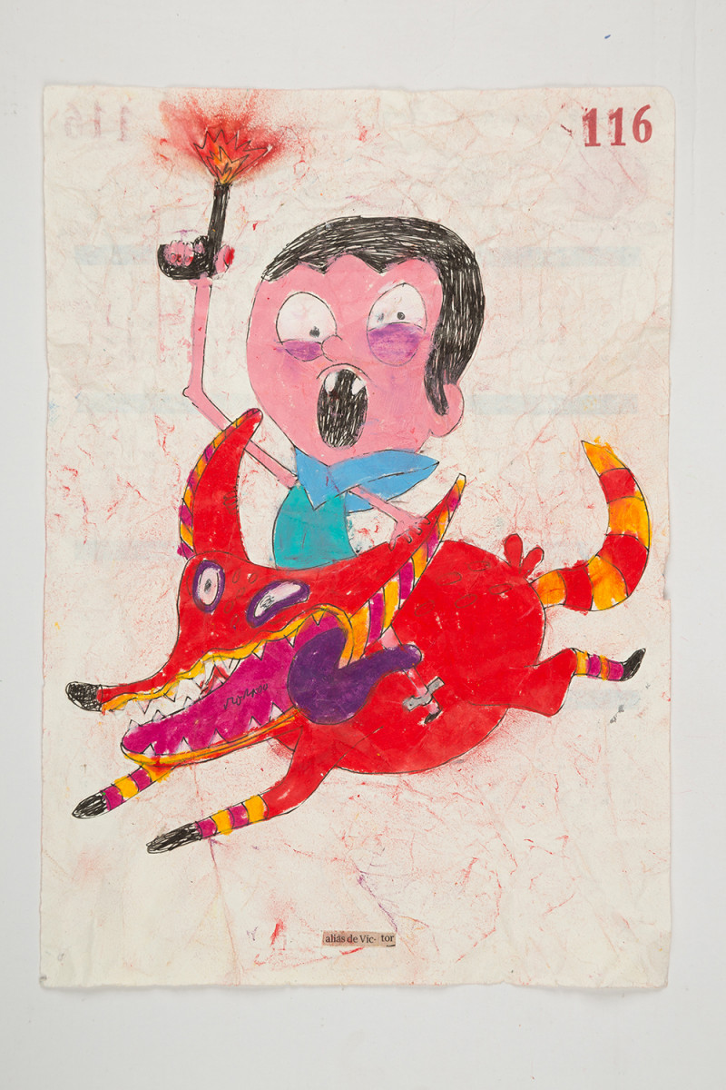 Camilo Restrepo. <em>Victor</em>, 2021. Water-soluble wax pastel, ink, tape and saliva on paper 11 3/4 x 8 1/4 inches (29.8 x 21 cm)