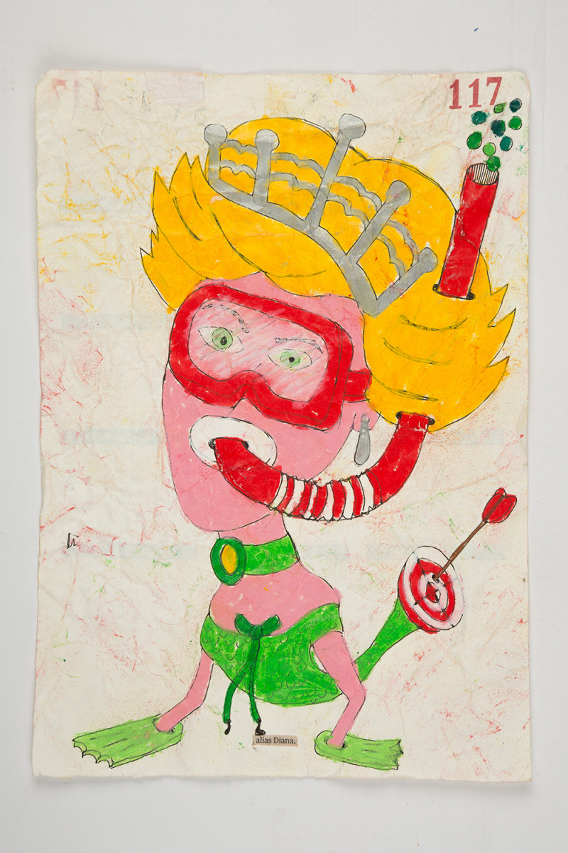 Camilo Restrepo. <em>Diana</em>, 2021. Water-soluble wax pastel, ink, tape and saliva on paper 11 3/4 x 8 1/4 inches (29.8 x 21 cm)