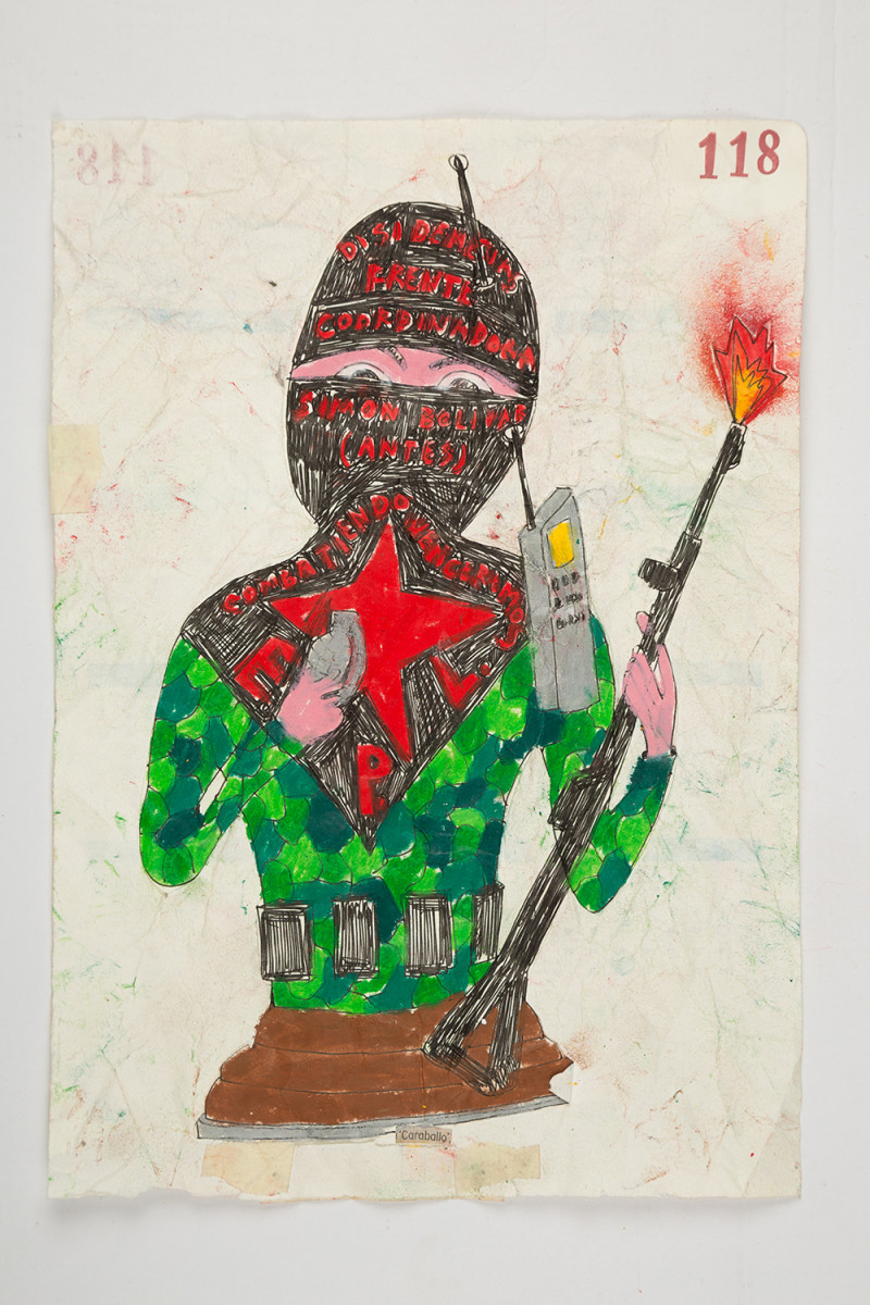 Camilo Restrepo. <em>Caraballo</em>, 2021. Water-soluble wax pastel, ink, tape and saliva on paper 11 3/4 x 8 1/4 inches (29.8 x 21 cm)