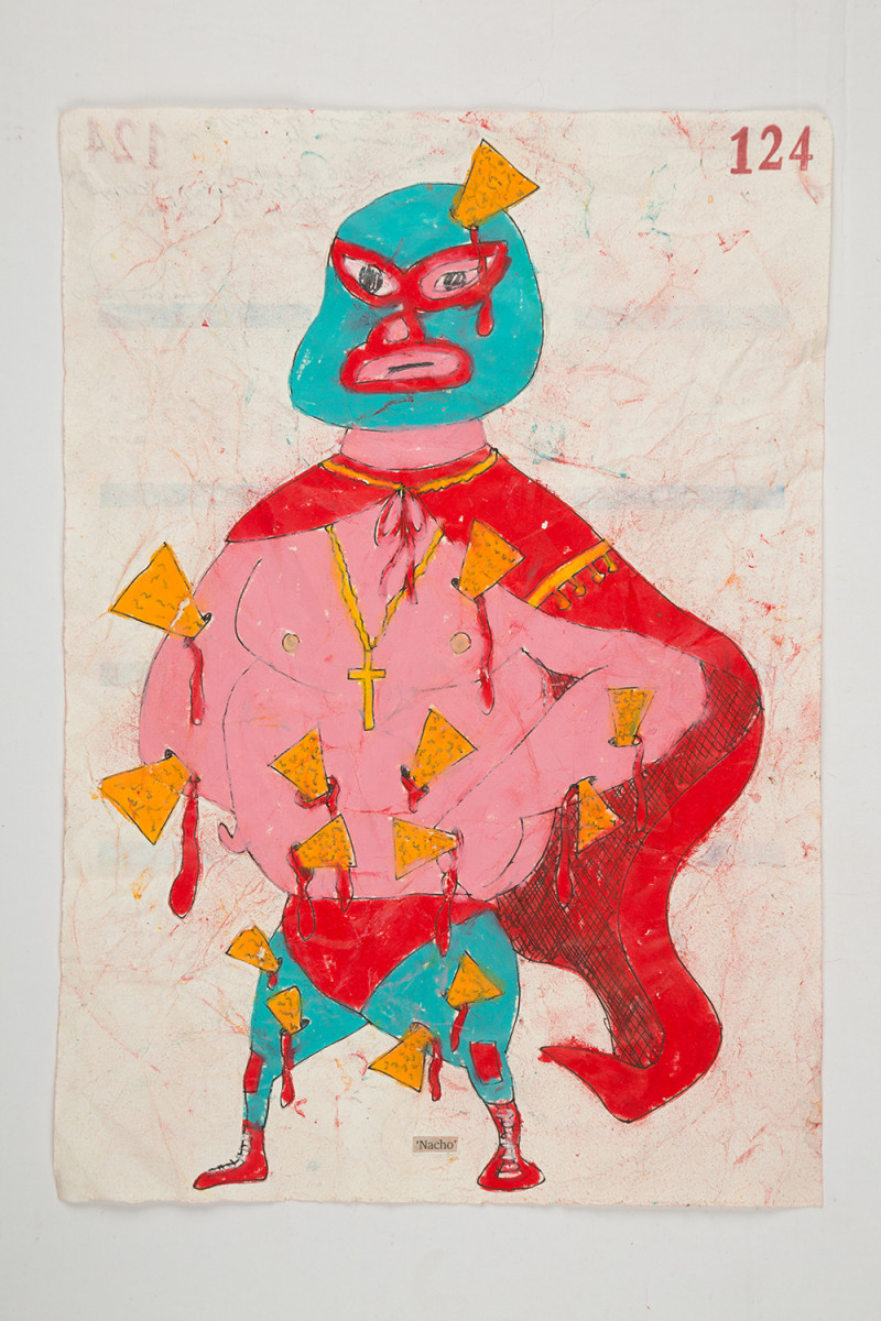 Camilo Restrepo. <em>Nacho</em>, 2021. Water-soluble wax pastel, ink, tape and saliva on paper 11 3/4 x 8 1/4 inches (29.8 x 21 cm)