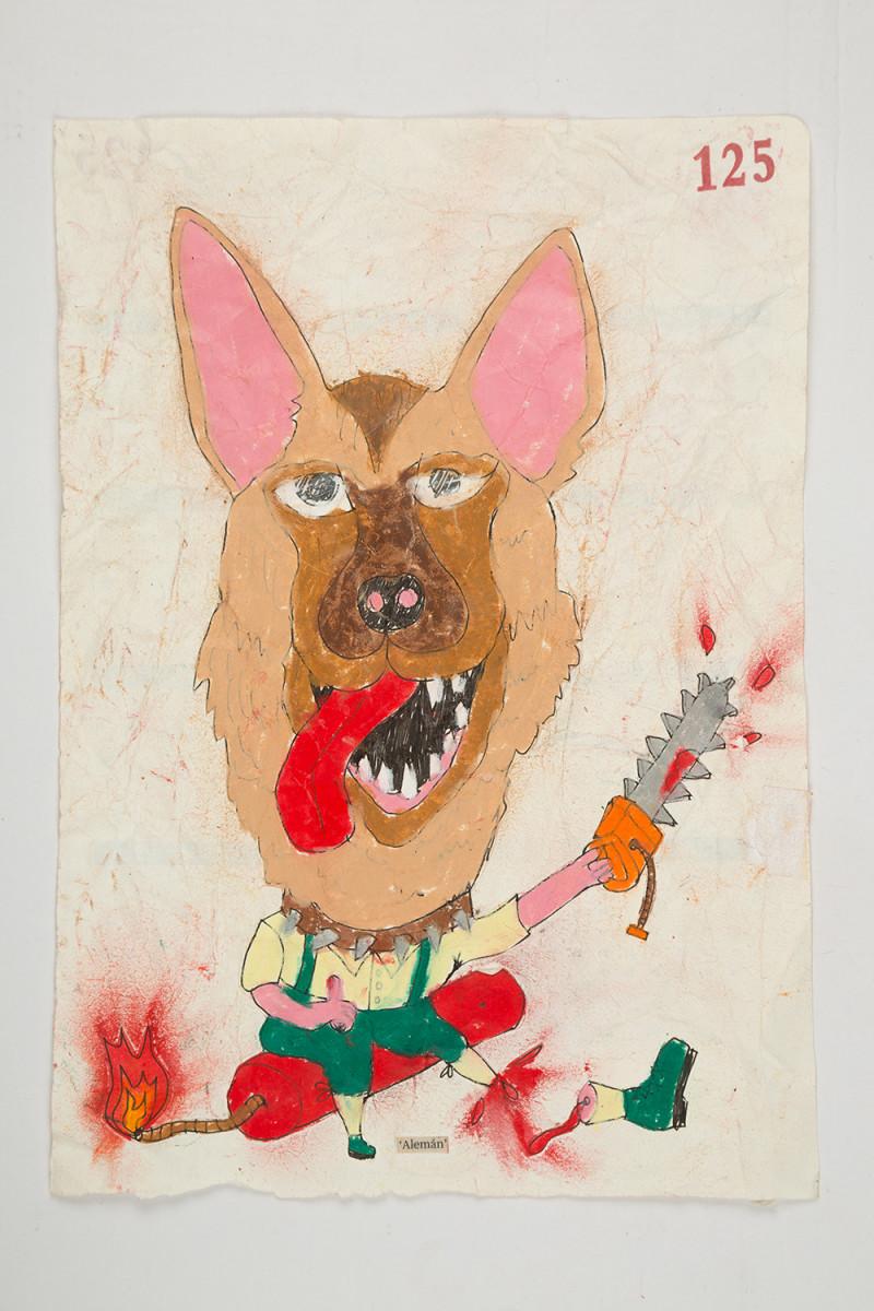 Camilo Restrepo. <em>Alemàn</em>, 2021. Water-soluble wax pastel, ink, tape and saliva on paper 11 3/4 x 8 1/4 inches (29.8 x 21 cm)