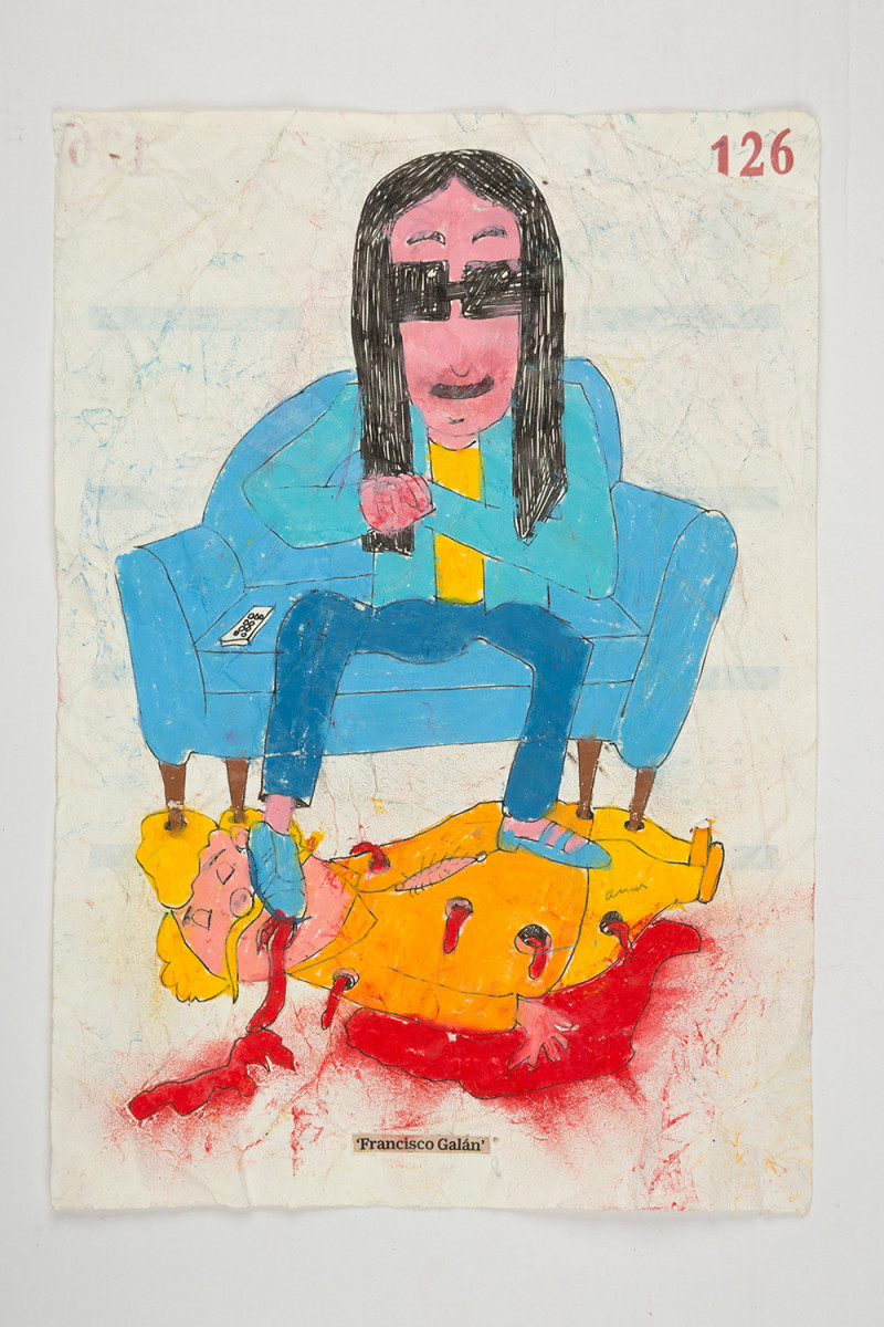 Camilo Restrepo. <em>Francisco Galàn</em>, 2021. Water-soluble wax pastel, ink, tape and saliva on paper 11 3/4 x 8 1/4 inches (29.8 x 21 cm)