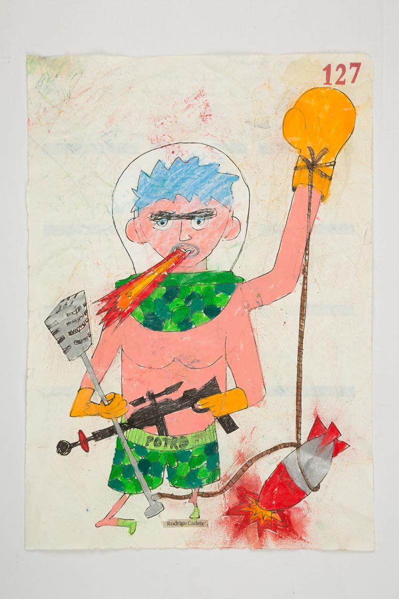 Camilo Restrepo. <em>Rodrigo Cadete</em>, 2021. Water-soluble wax pastel, ink, tape and saliva on paper 11 3/4 x 8 1/4 inches (29.8 x 21 cm)