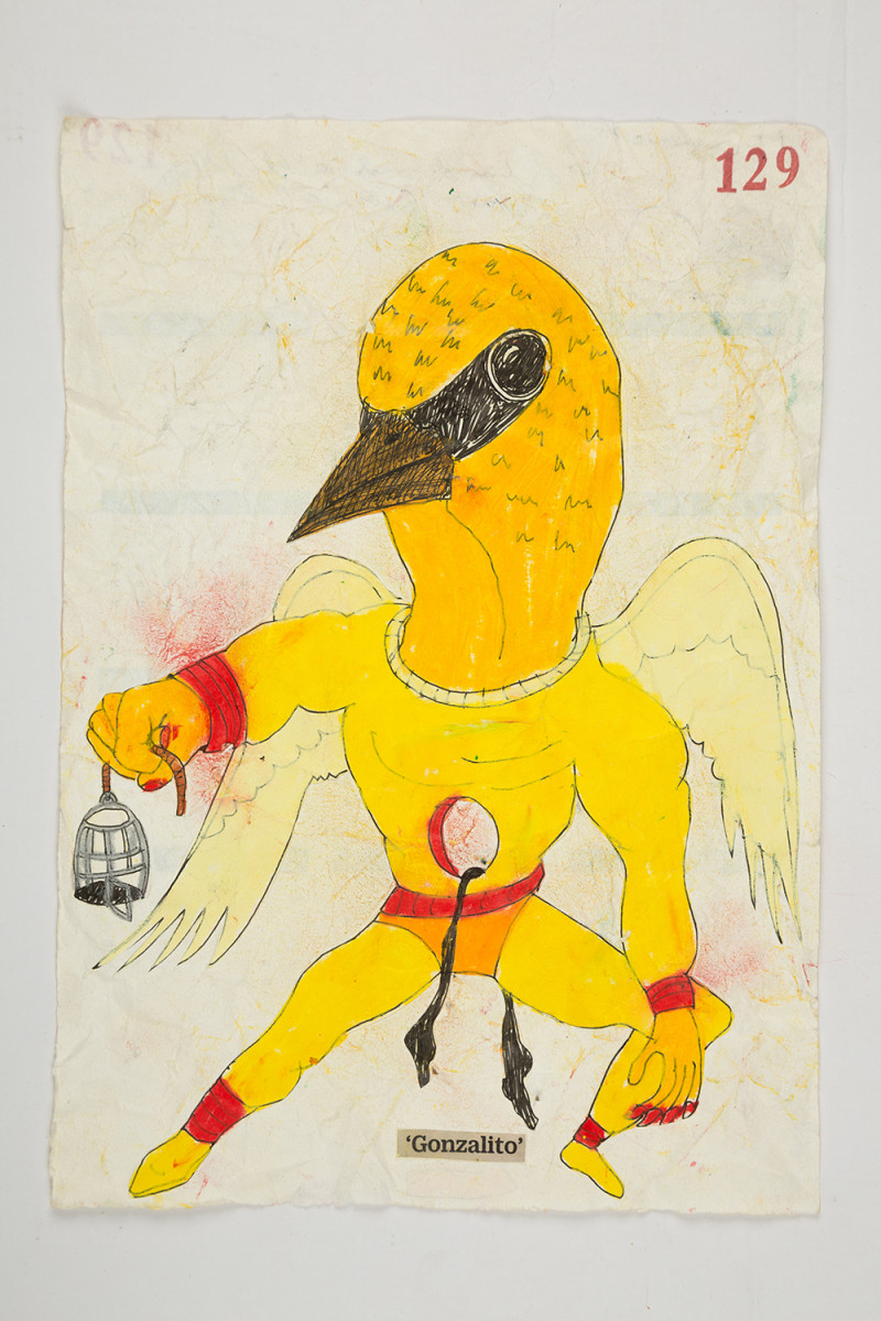 Camilo Restrepo. <em>Gonzalito</em>, 2021. Water-soluble wax pastel, ink, tape and saliva on paper 11 3/4 x 8 1/4 inches (29.8 x 21 cm)