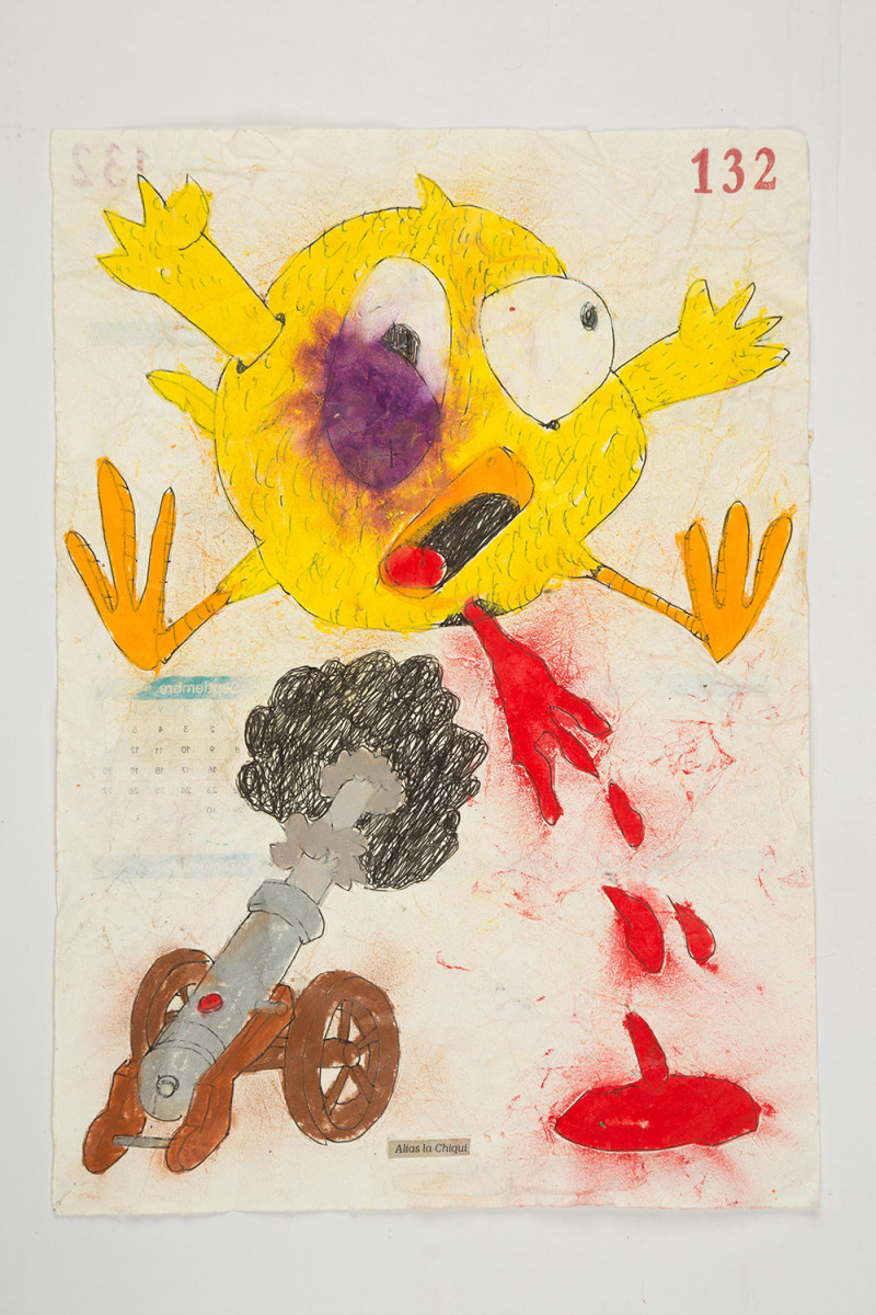 Camilo Restrepo. <em>Chiqui</em>, 2021. Water-soluble wax pastel, ink, tape and saliva on paper 11 3/4 x 8 1/4 inches (29.8 x 21 cm)