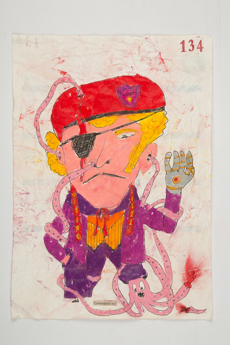 Camilo Restrepo. <em>Comandante Uno</em>, 2021. Water-soluble wax pastel, ink, tape and saliva on paper 11 3/4 x 8 1/4 inches (29.8 x 21 cm)