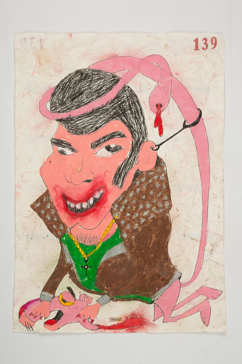 Camilo Restrepo. <em>Pocho</em>, 2021. Water-soluble wax pastel, ink, tape and saliva on paper 11 3/4 x 8 1/4 inches (29.8 x 21 cm)