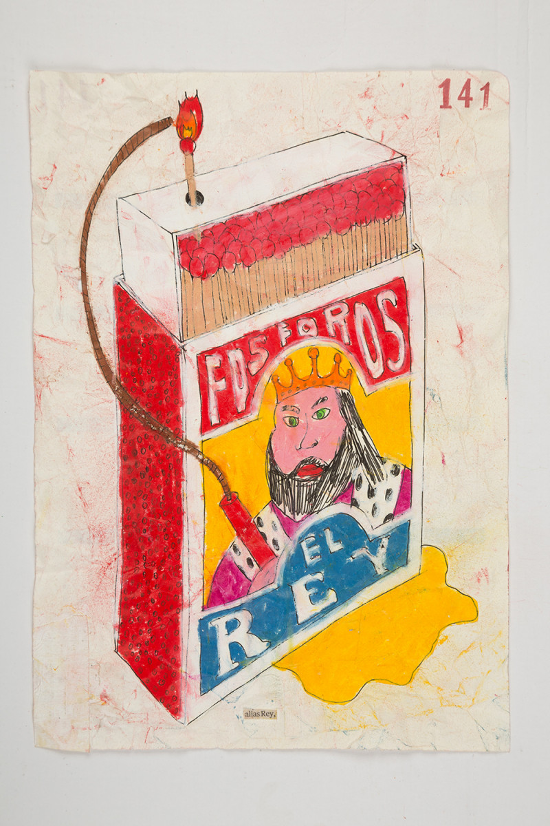 Camilo Restrepo. <em>Rey</em>, 2021. Water-soluble wax pastel, ink, tape and saliva on paper 11 3/4 x 8 1/4 inches (29.8 x 21 cm)