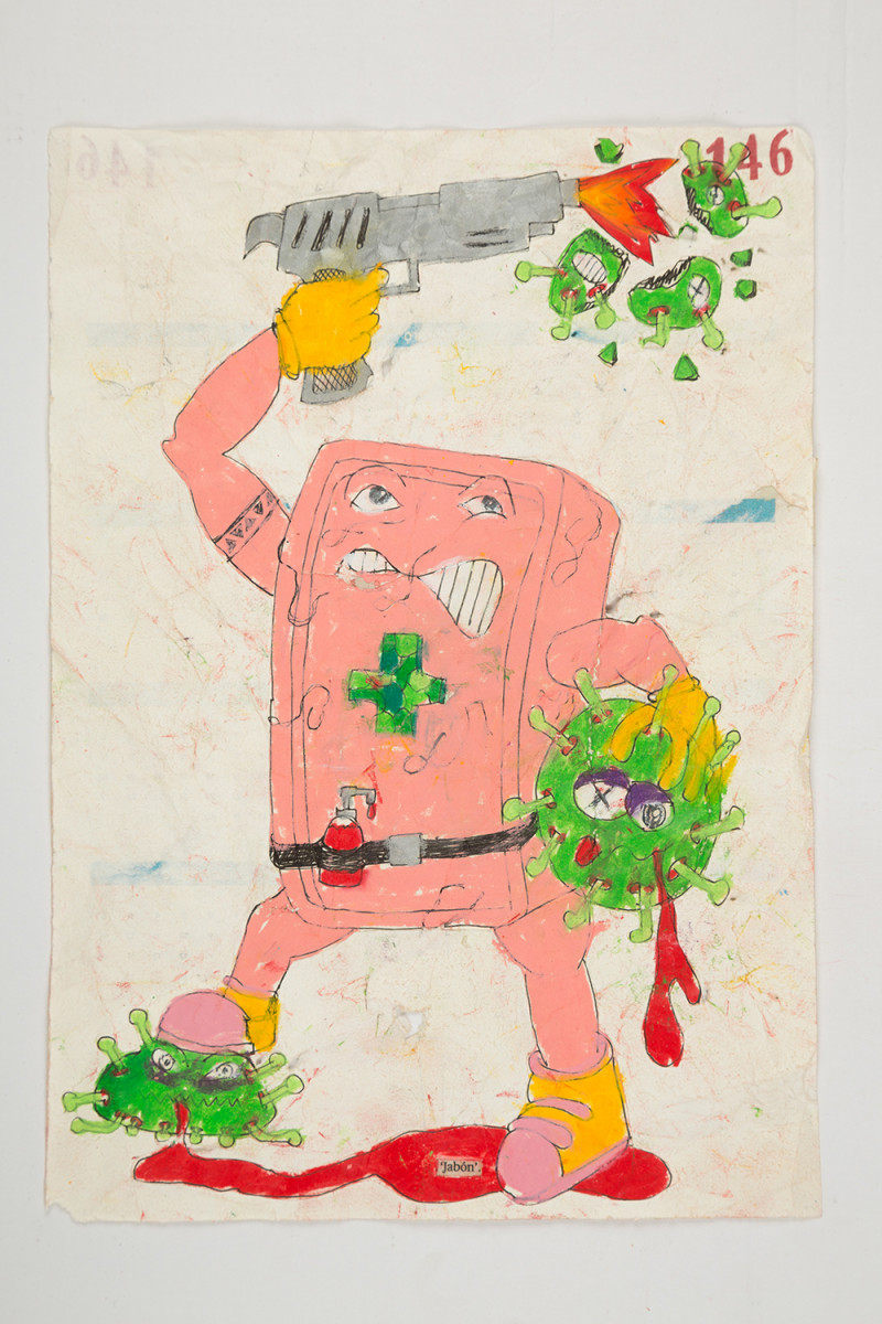 Camilo Restrepo. <em>Jabòn</em>, 2021. Water-soluble wax pastel, ink, tape and saliva on paper 11 3/4 x 8 1/4 inches (29.8 x 21 cm)