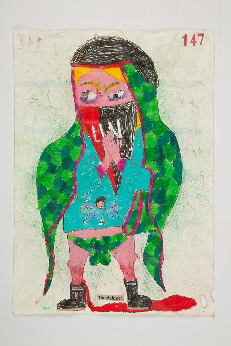 Camilo Restrepo. <em>Guadalupe</em>, 2021. Water-soluble wax pastel, ink, tape and saliva on paper 11 3/4 x 8 1/4 inches (29.8 x 21 cm)