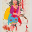 Camilo Restrepo. <em>Jhoana</em>, 2021. Water-soluble wax pastel, ink, tape and saliva on paper 11 3/4 x 8 1/4 inches (29.8 x 21 cm) thumbnail